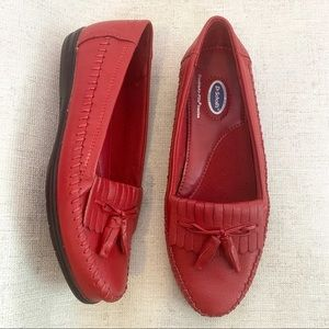Dr. Scholls Red Leather Tassel Loafers